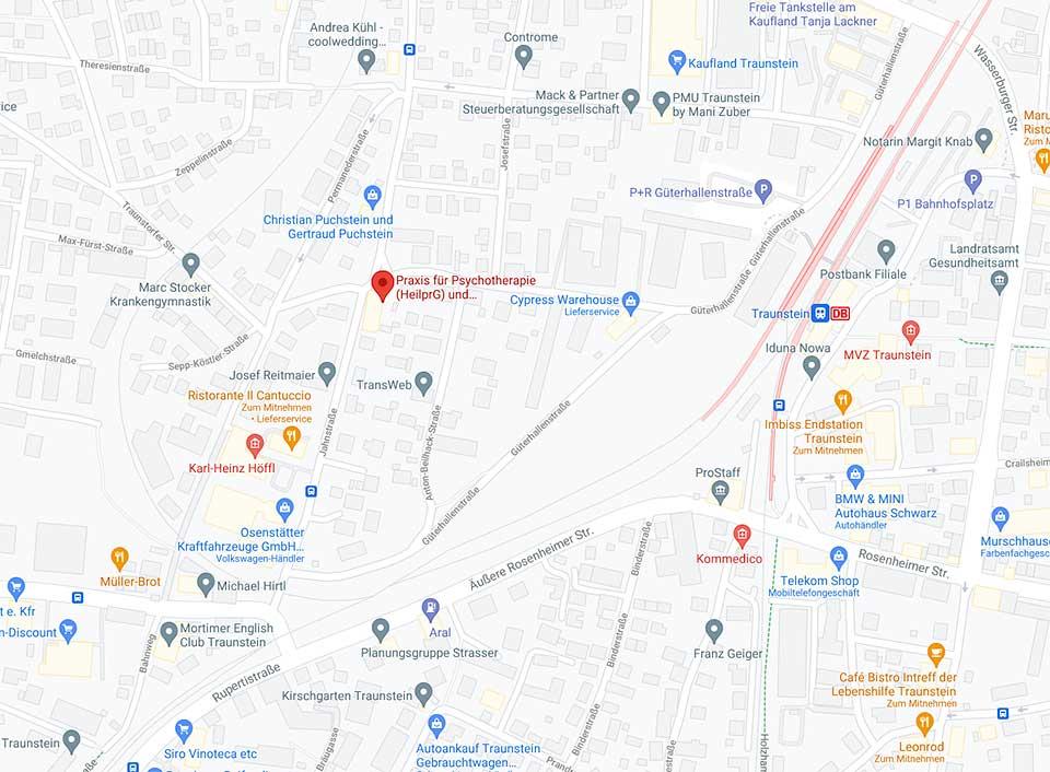 Bild Karte Google maps Standort der Praxis für Psychotherapie Swenja Heinrich Varga